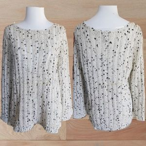 NWT / INC OFF WHITE BLACK SILVER OPEN KNIT